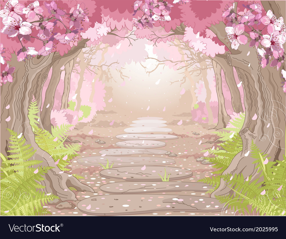 Magic spring forest vector | Price: 1 Credit (USD $1)