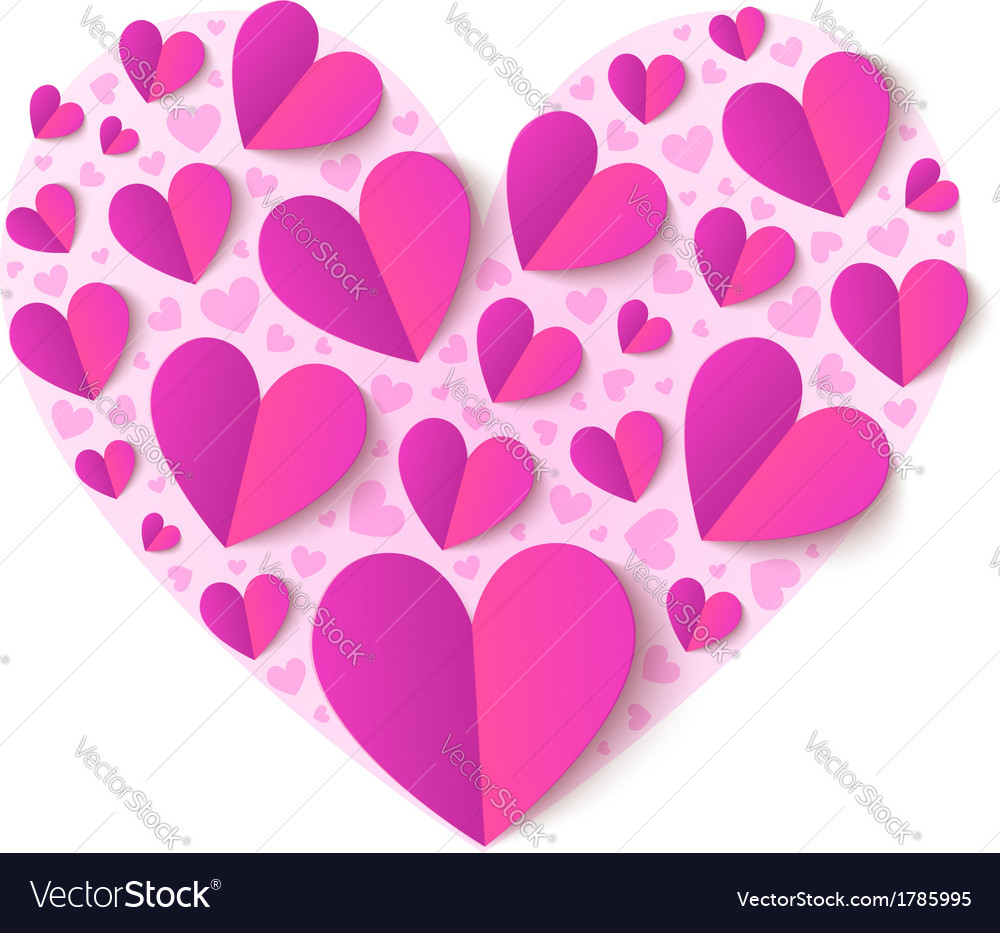 Pink cutout paper hearts vector | Price: 1 Credit (USD $1)