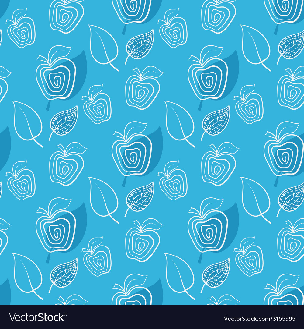 Seamless blue pattern with apple vector | Price: 1 Credit (USD $1)