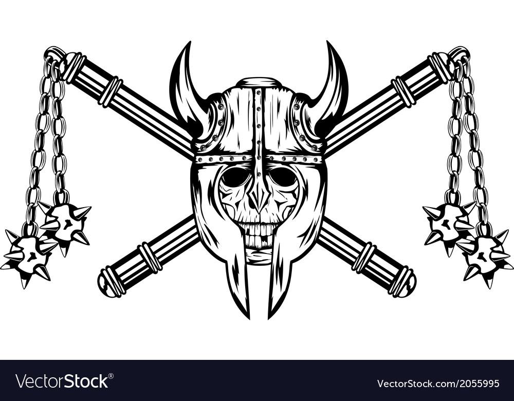 Skull in helmet and crossed maces vector | Price: 1 Credit (USD $1)