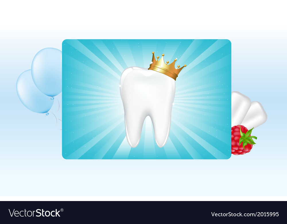 Tooth in crown and chewing gum vector | Price: 1 Credit (USD $1)