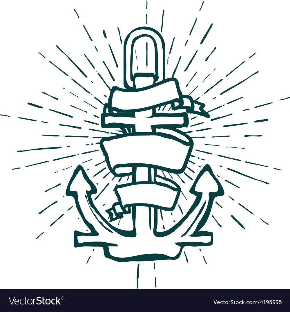 Vintage marine anchor isolated engrave vector | Price: 1 Credit (USD $1)