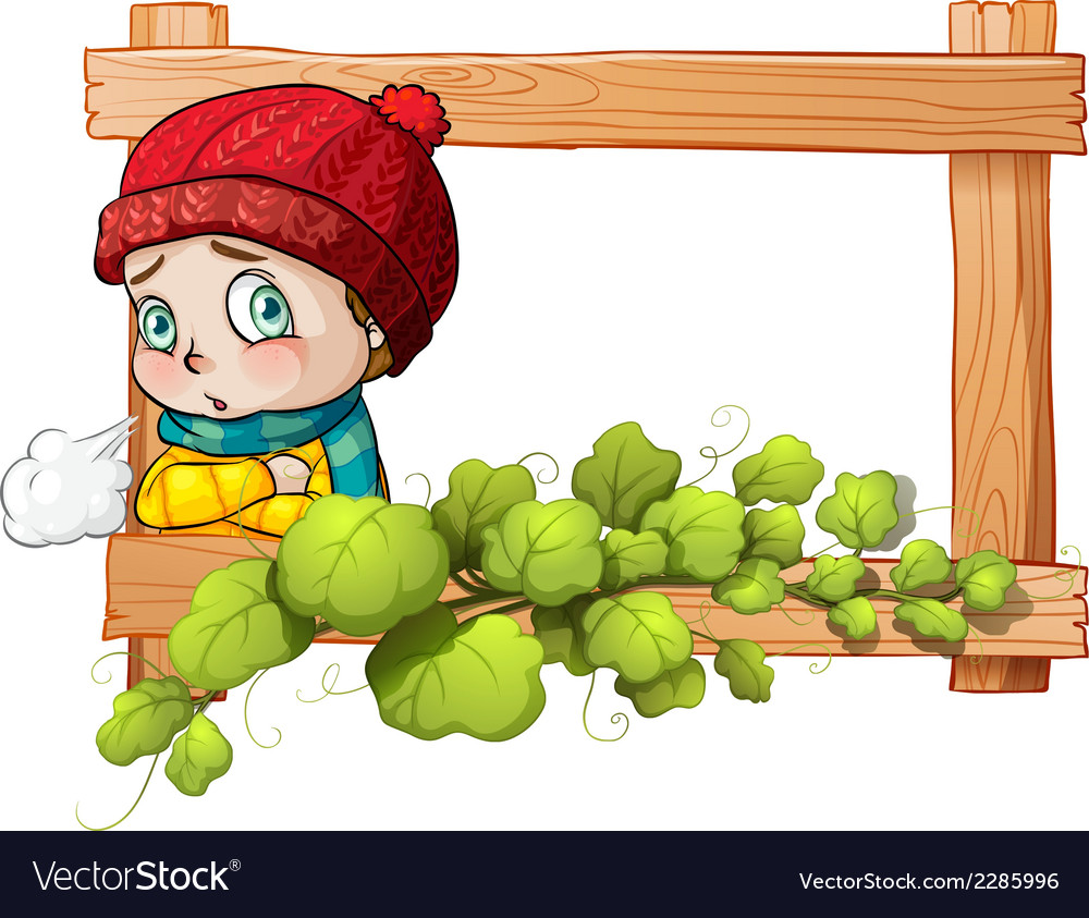 A frame with a child and a green plant vector | Price: 1 Credit (USD $1)