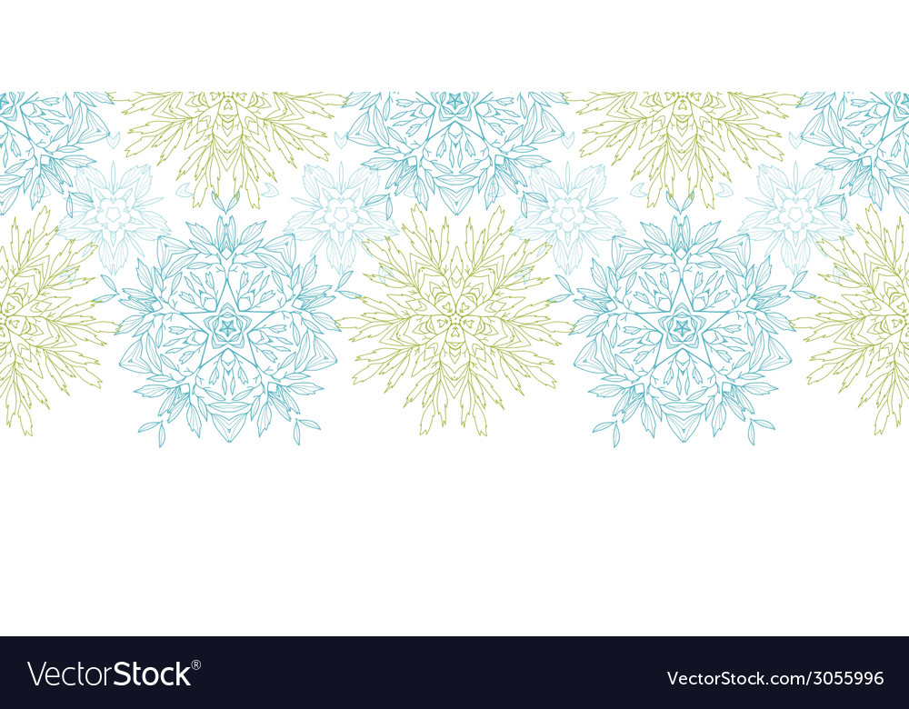 Abstract plants mandalas horizontal border vector | Price: 1 Credit (USD $1)