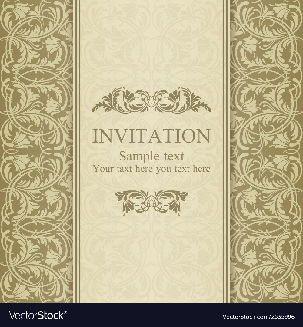 Baroque invitation beige vector | Price: 1 Credit (USD $1)