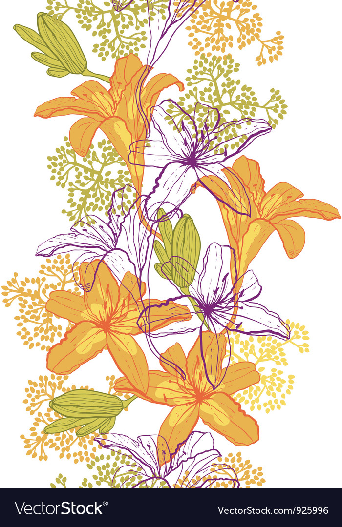 Beautiful seamless pattern with lilies vector | Price: 1 Credit (USD $1)
