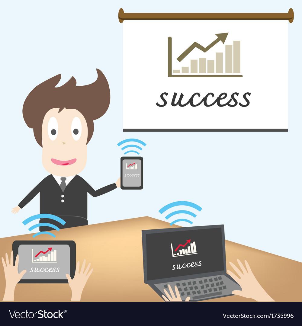 Business man transferring data vector   Price: 1 Credit (USD $1)