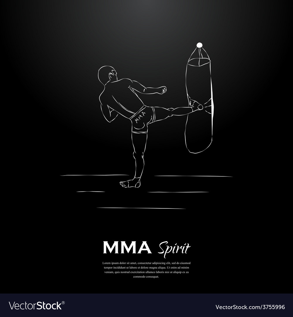 Mma spirit fighter and punching bag vector | Price: 1 Credit (USD $1)