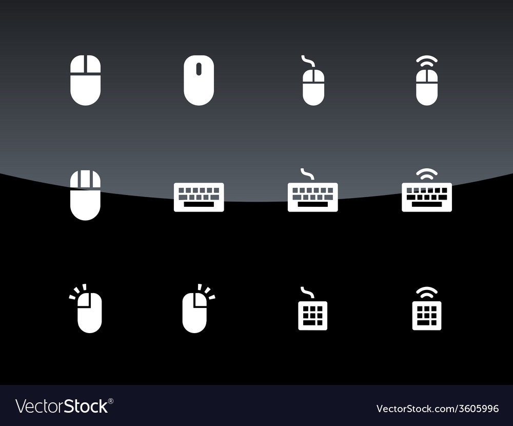Pc mouse and keypad icons on black background vector | Price: 1 Credit (USD $1)