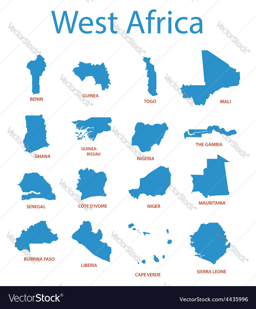 West africa - maps of territories vector | Price: 1 Credit (USD $1)