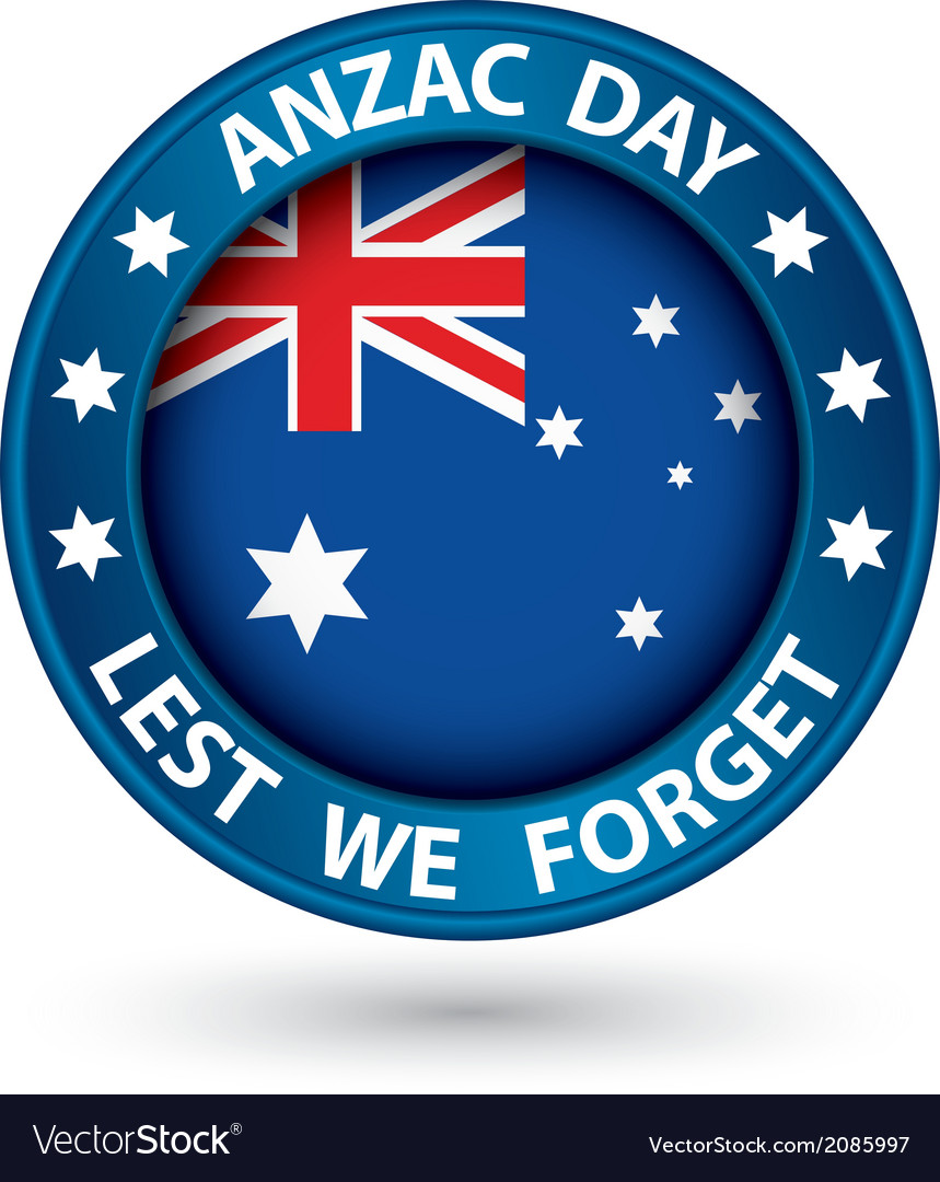 Anzac day lest we forget blue label vector | Price: 1 Credit (USD $1)