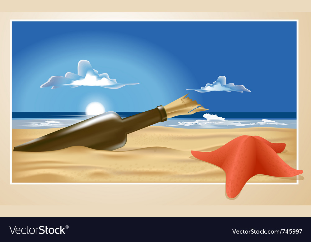 Message in a bottle vector | Price: 3 Credit (USD $3)