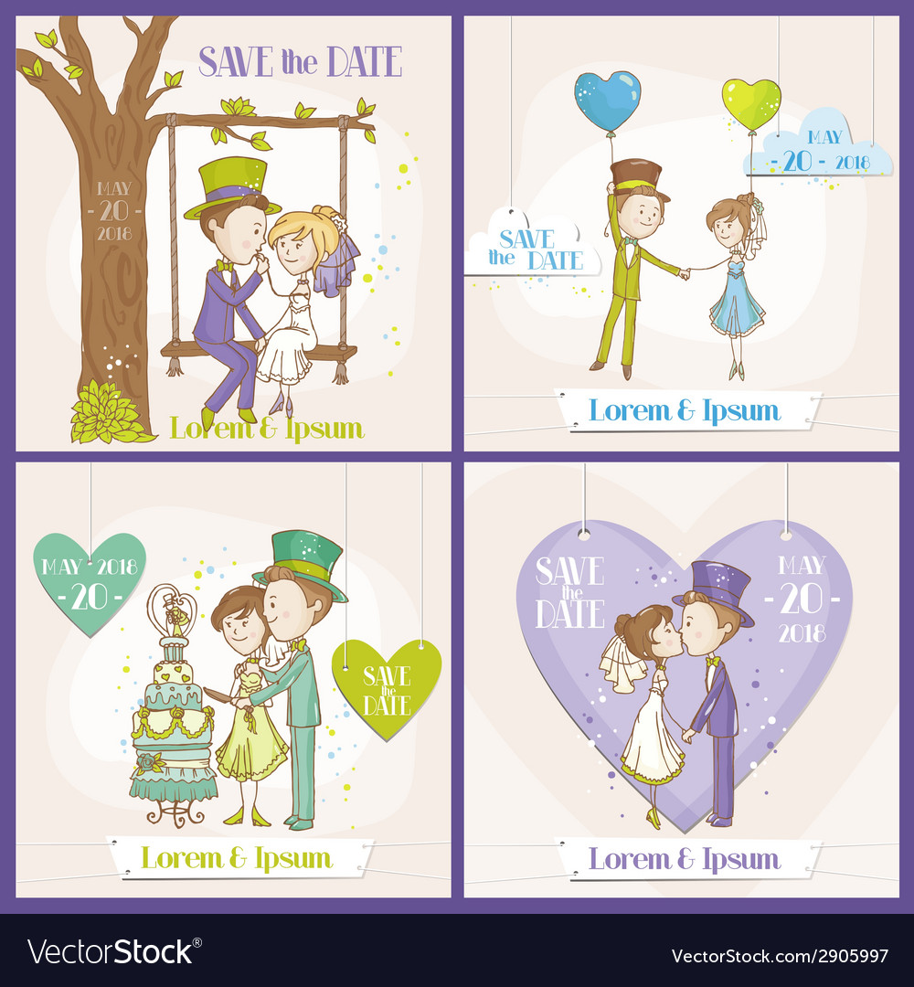 Save the date wedding card set vector | Price: 3 Credit (USD $3)
