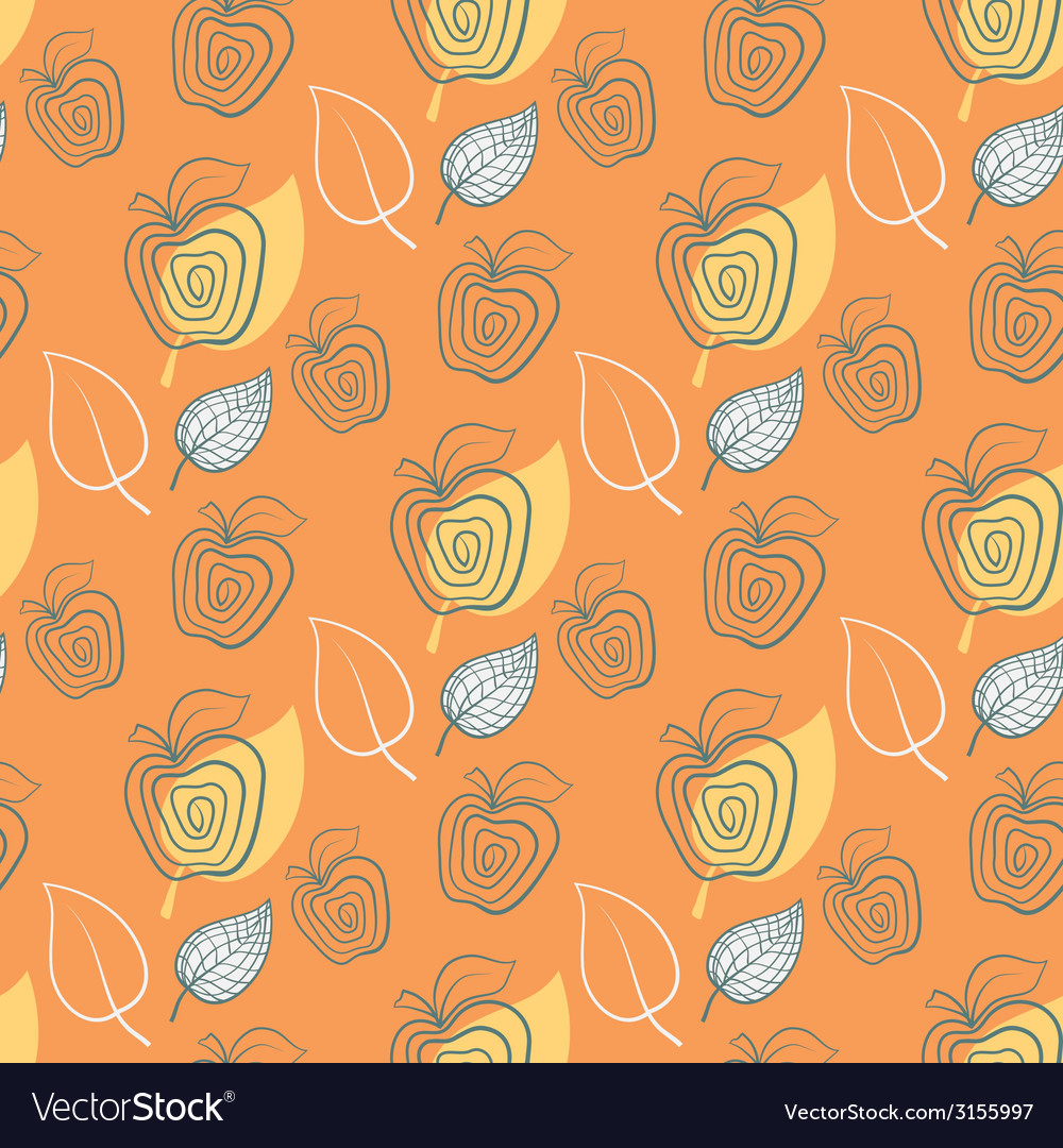 Seamless pattern with appleappleyeelowleaf vector | Price: 1 Credit (USD $1)