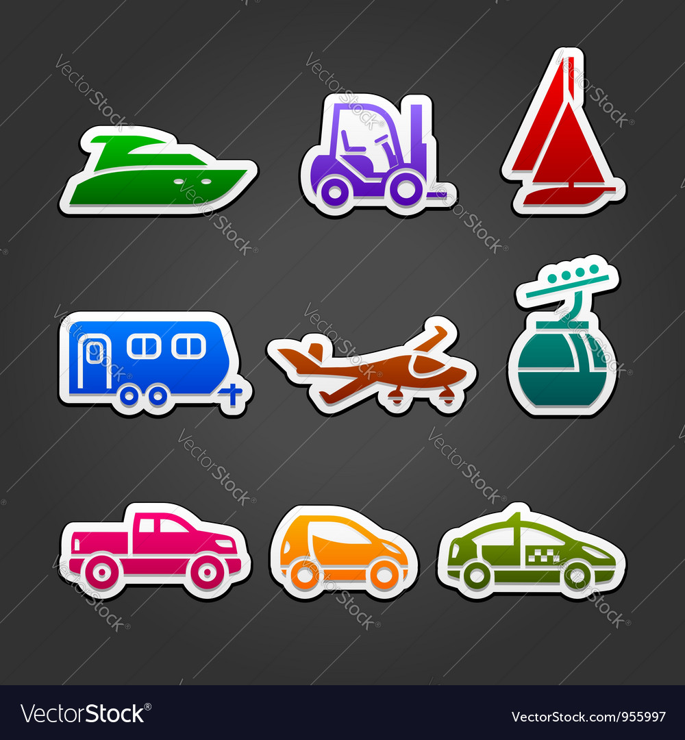 Set labels color transport icons vector | Price: 1 Credit (USD $1)
