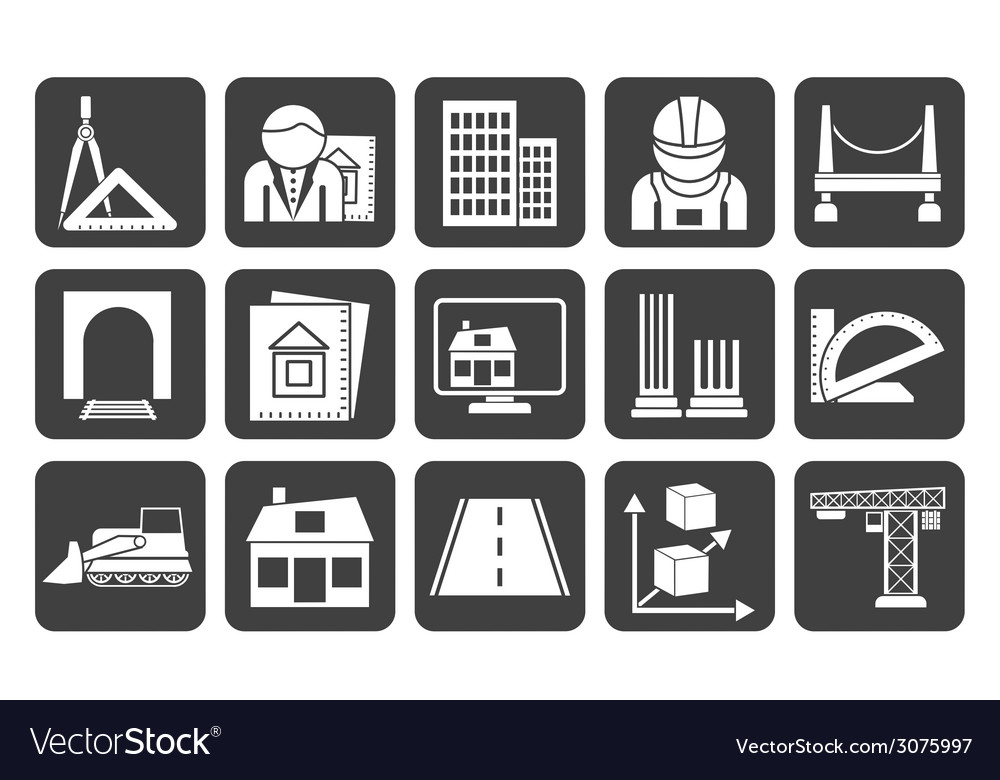 Silhouette architecture and construction icons vector | Price: 1 Credit (USD $1)