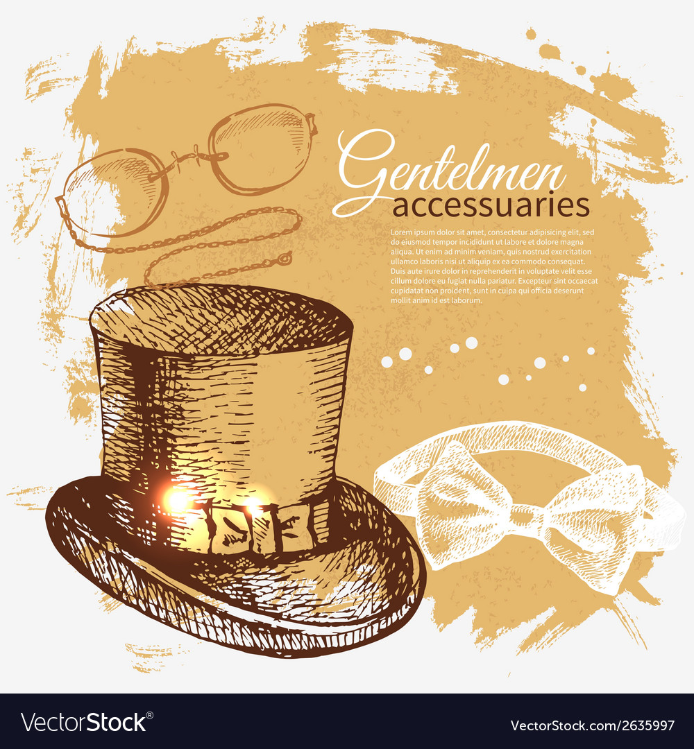 Sketch gentlemen accessory vintage background vector | Price: 1 Credit (USD $1)