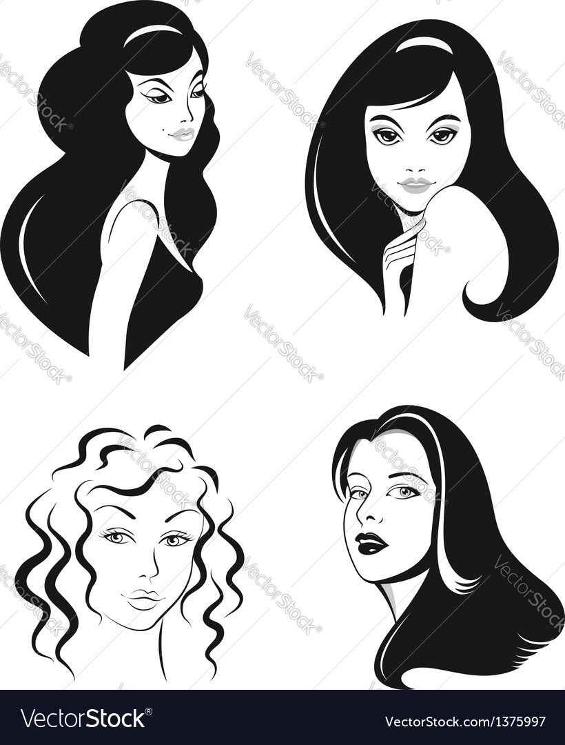Woman faces set vector | Price:  Credit (USD $)