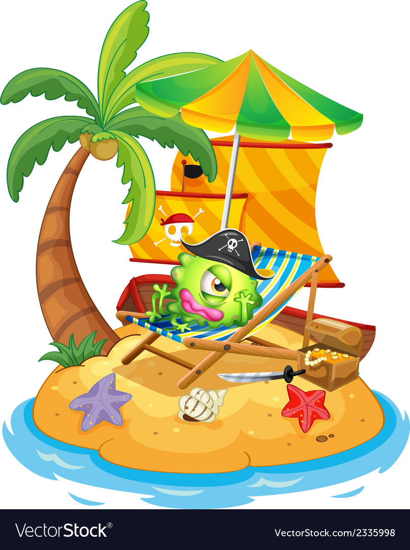 An island with a monster pirate vector | Price: 3 Credit (USD $3)