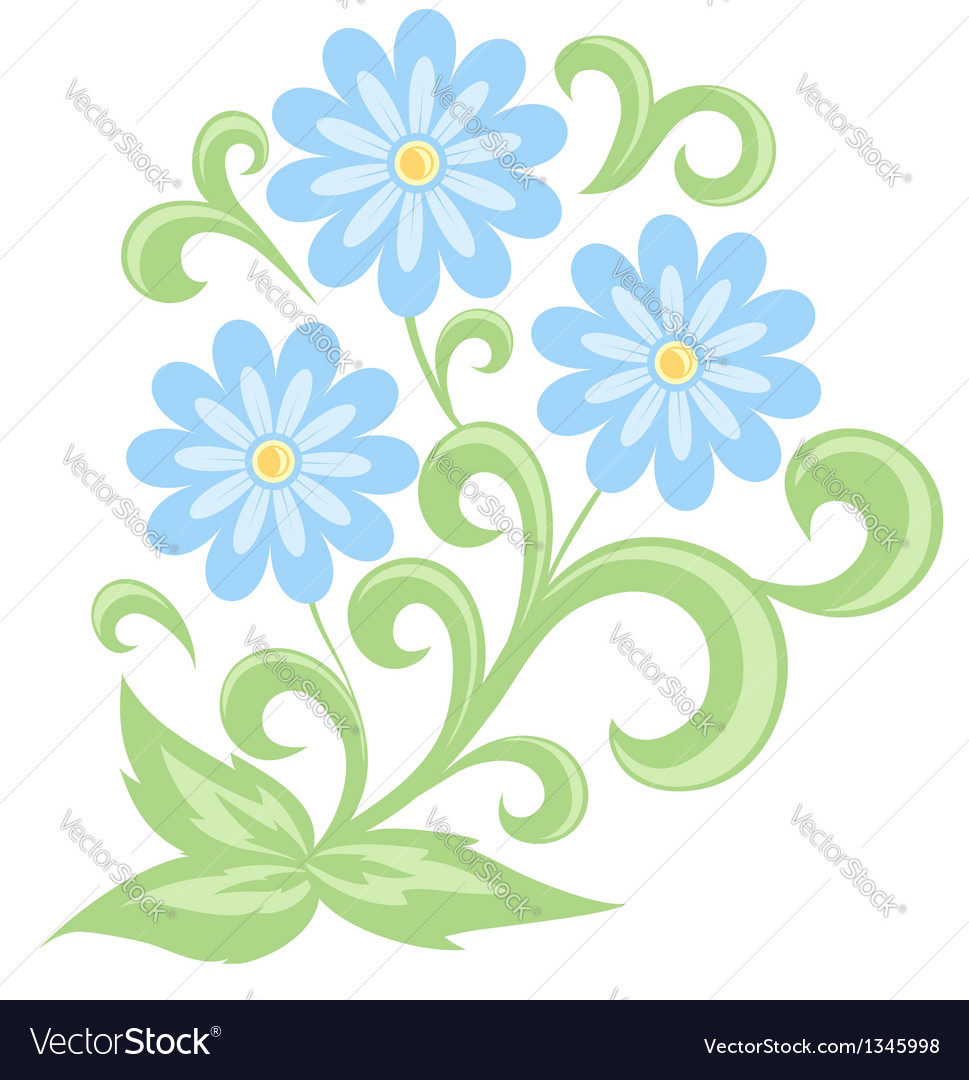 Blue daisies in soft colors isolated on white vector | Price: 1 Credit (USD $1)