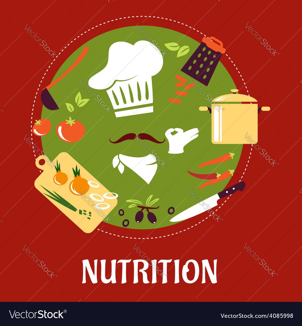 Chef prepares vegetarian salad vector | Price: 1 Credit (USD $1)