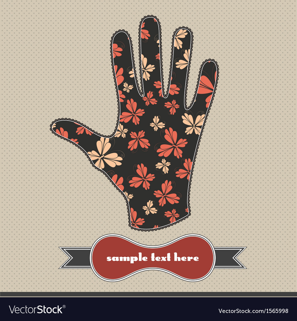 Composition with butterfly on the handprint vector | Price: 1 Credit (USD $1)