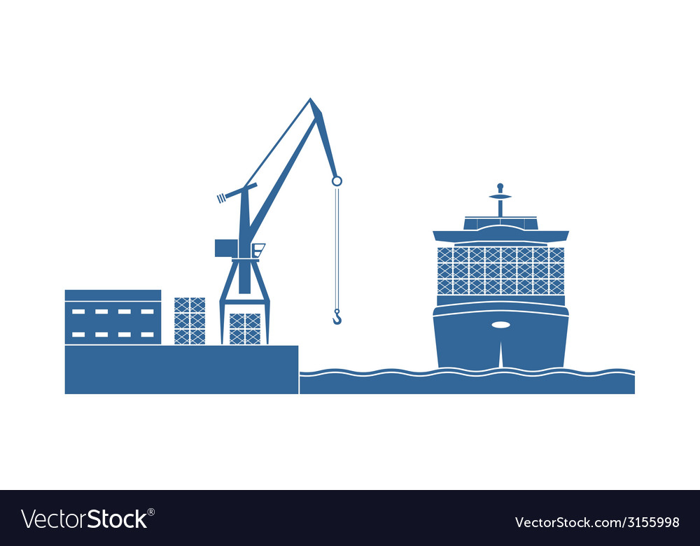 Container ship in the port vector | Price: 1 Credit (USD $1)