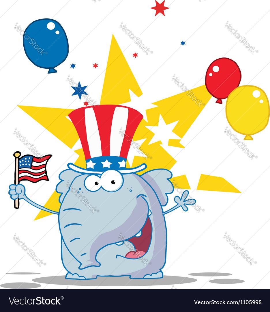 Elephant wearing a patriotic hat vector | Price: 1 Credit (USD $1)