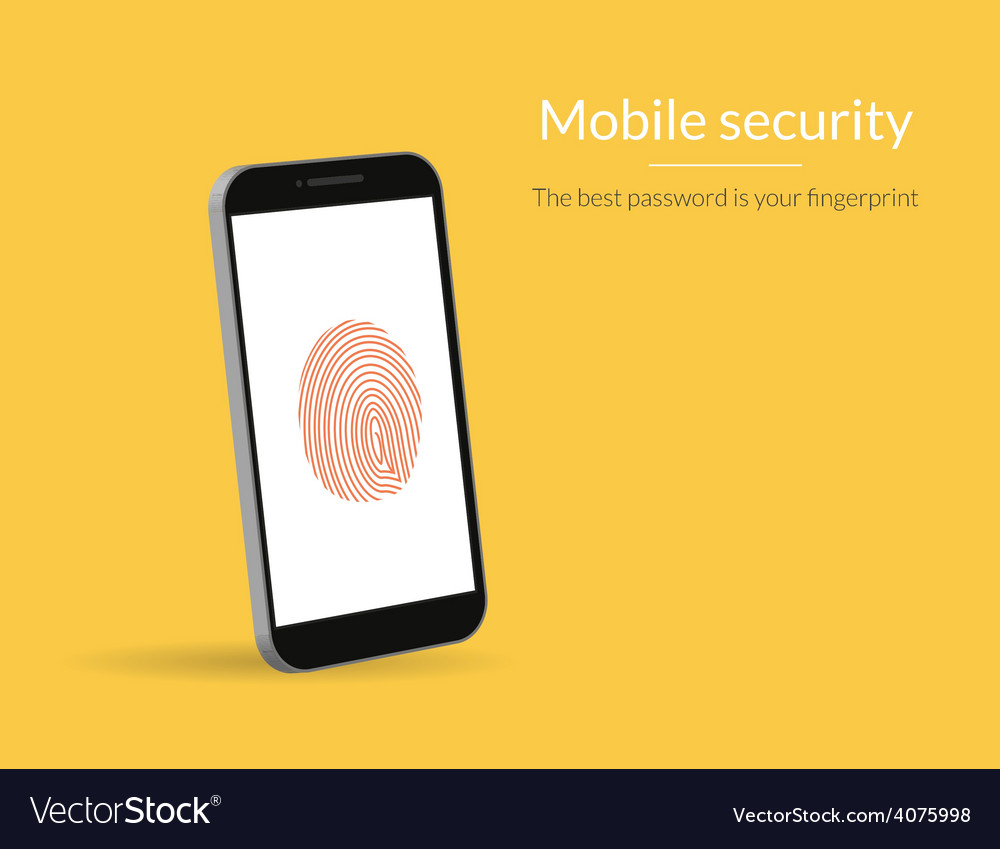 Fingerprint scanning on smartphone vector | Price: 1 Credit (USD $1)