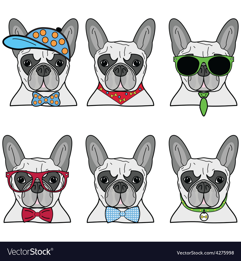 French bulldog set of 6 icons vector | Price: 1 Credit (USD $1)