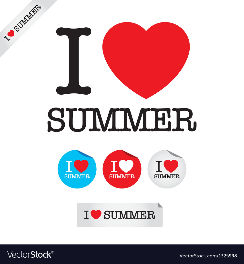 I love summer vector | Price: 1 Credit (USD $1)