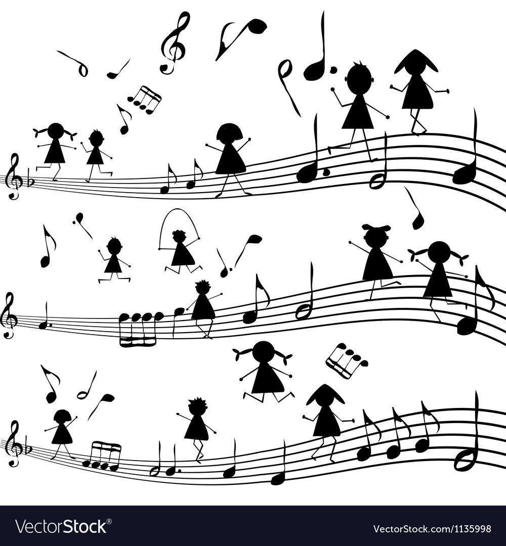 Music note with stylized kids silhouettes vector | Price: 1 Credit (USD $1)