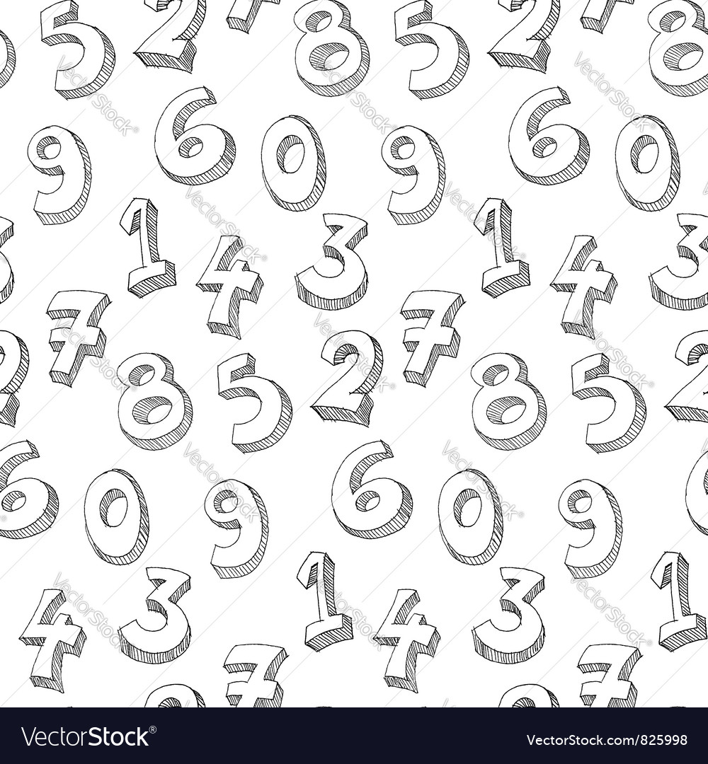 Numbers hand written pattern vector | Price: 1 Credit (USD $1)