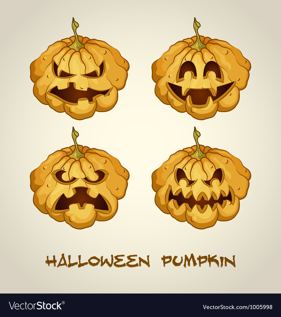 Set of spooky jack o lanterns vector | Price: 1 Credit (USD $1)