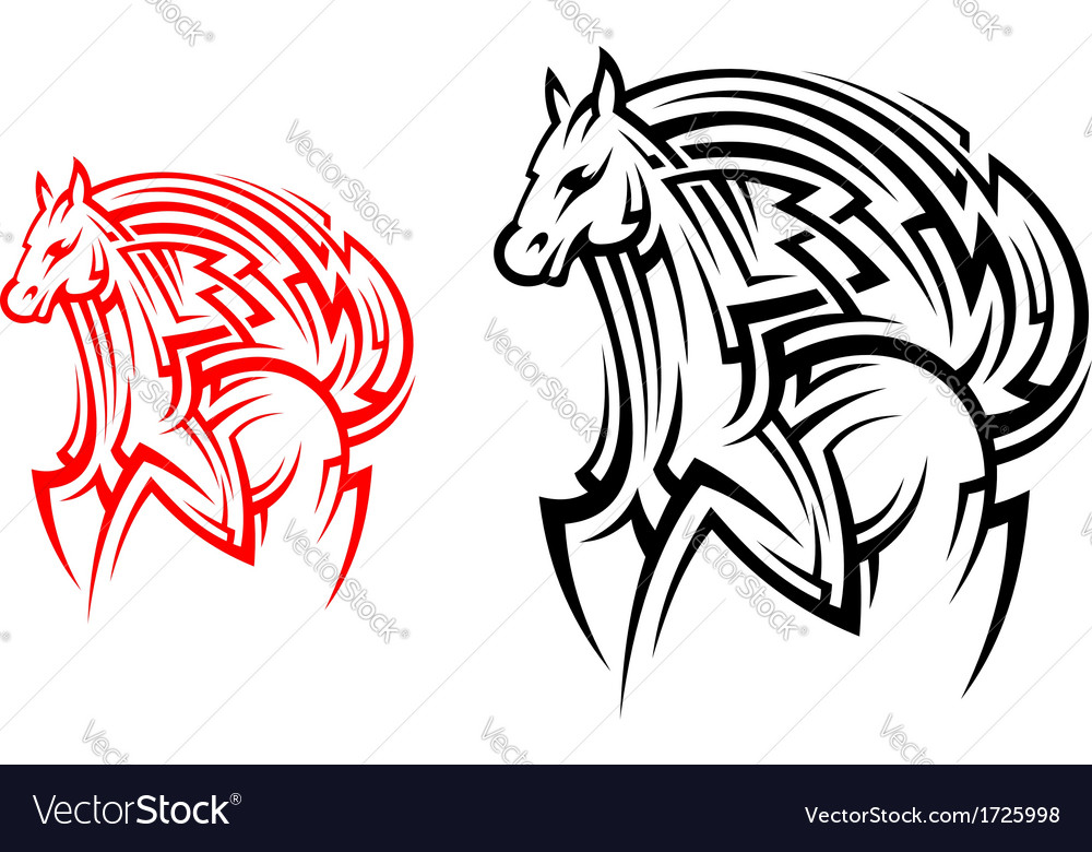 Tribal horse tattoo vector | Price: 1 Credit (USD $1)