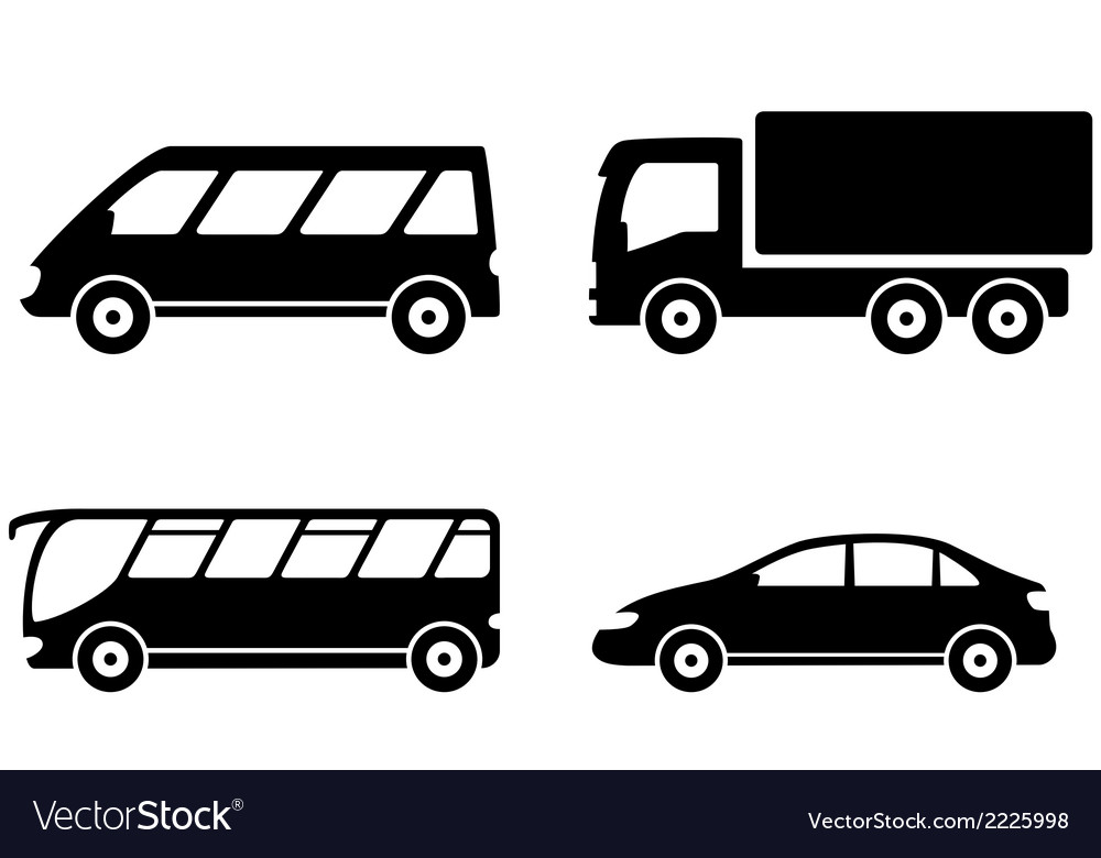 Vehicle bus truck and car transport set vector | Price: 1 Credit (USD $1)