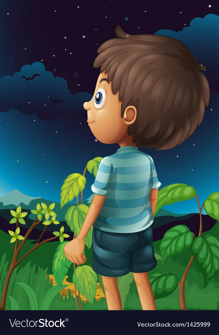 A boy gazing at the sky vector | Price: 1 Credit (USD $1)