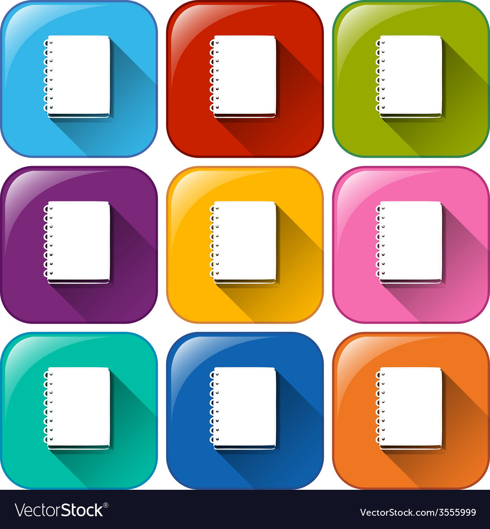 Buttons with notebooks vector | Price: 1 Credit (USD $1)