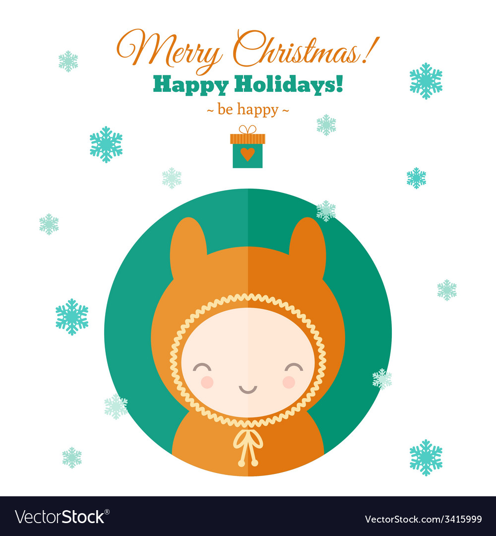 Greeting card with fun child for christmas in flat vector | Price: 1 Credit (USD $1)