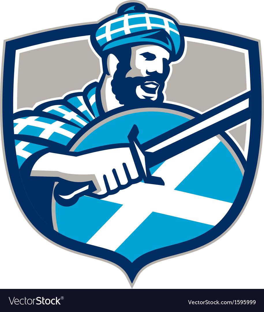 Highlander scotsman sword shield retro vector   Price: 1 Credit (USD $1)