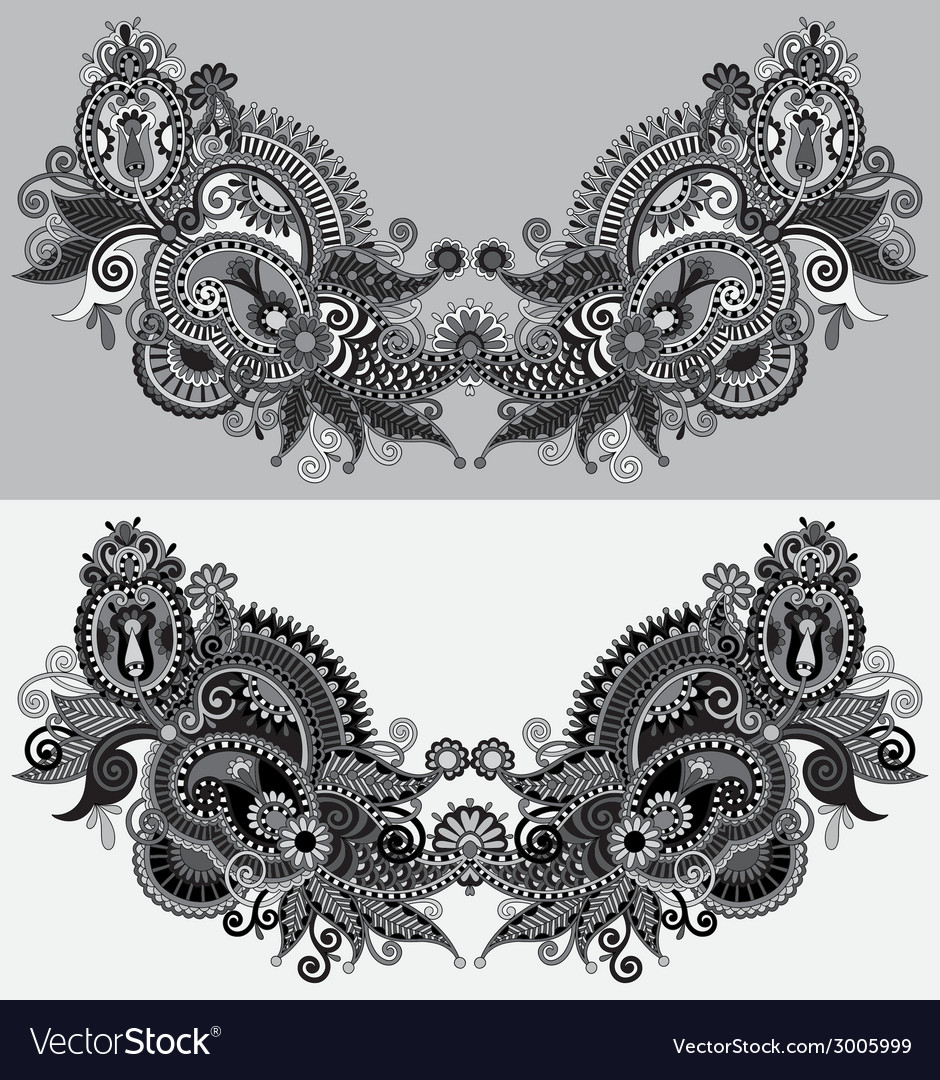 Neckline grey embroidery fashion black and white vector | Price: 1 Credit (USD $1)