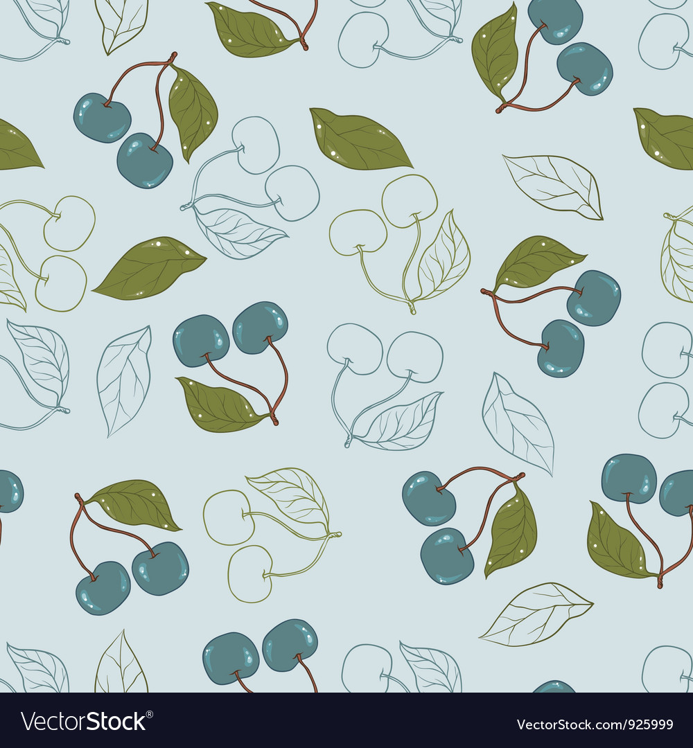 Ornate cherry pattern isolated on a blue vector | Price: 1 Credit (USD $1)
