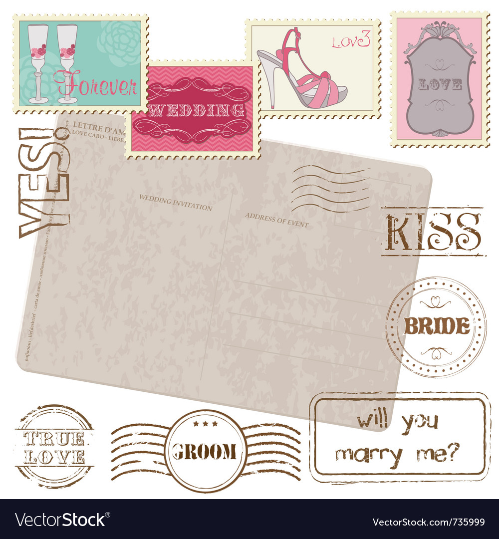 Set of wedding postage stamps vector | Price: 1 Credit (USD $1)