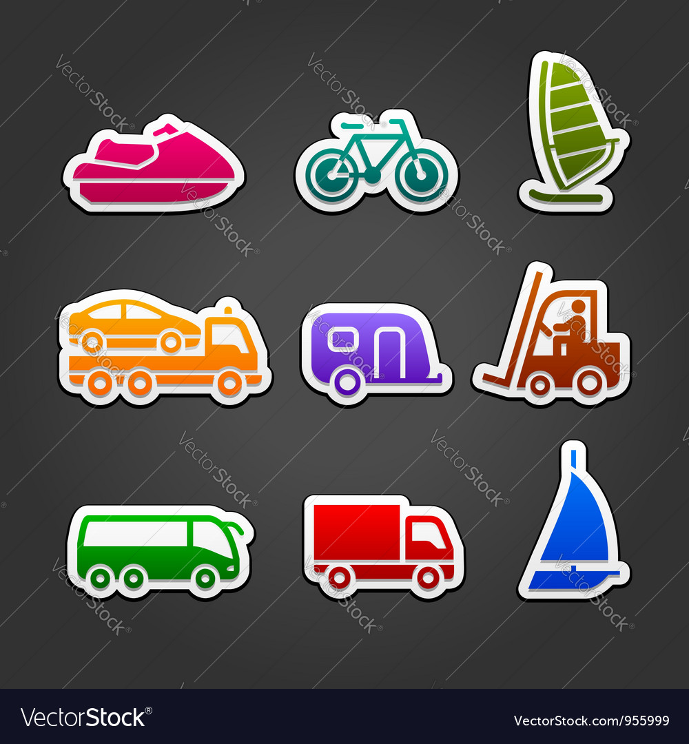 Set simple stickers color transport vector | Price: 1 Credit (USD $1)