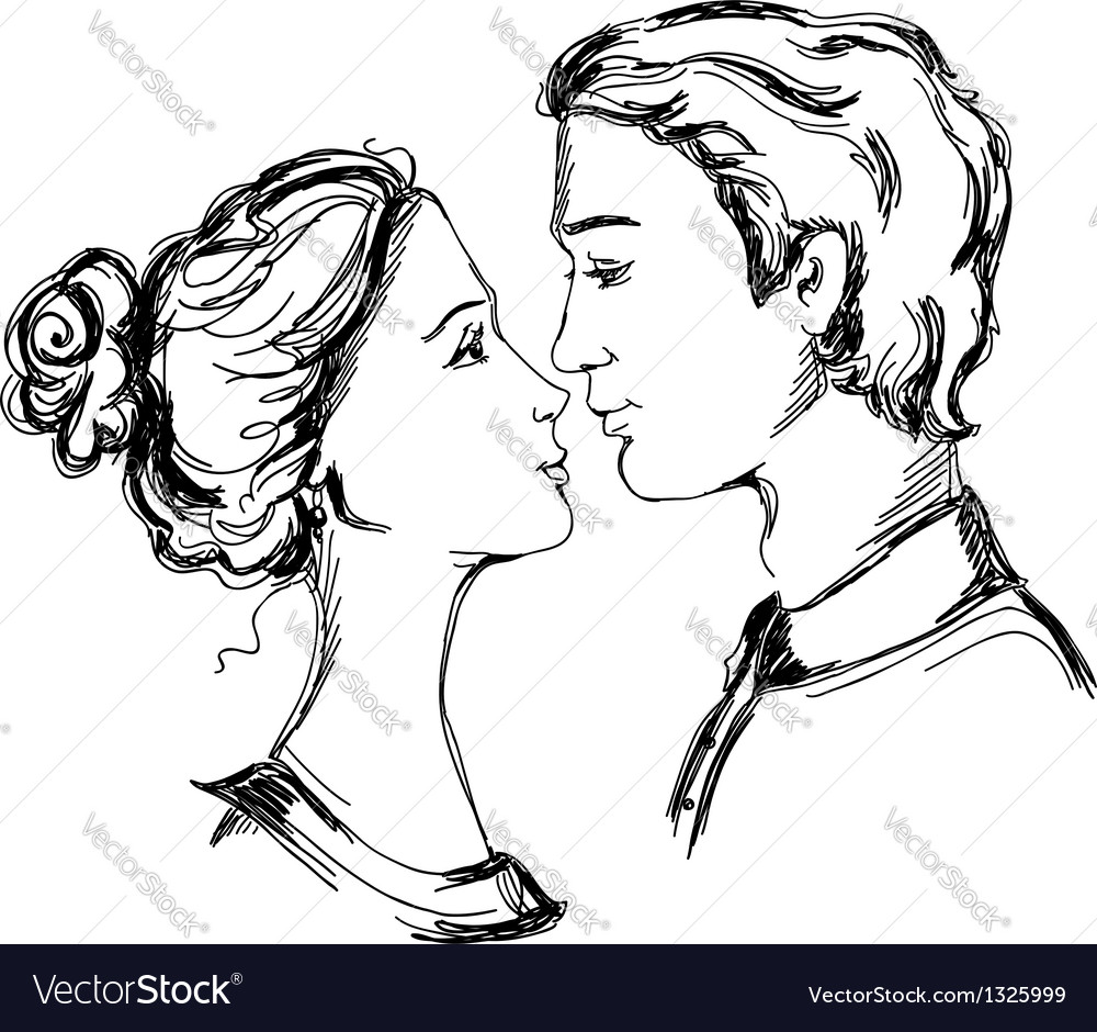Sketch of loving couple vector | Price: 1 Credit (USD $1)