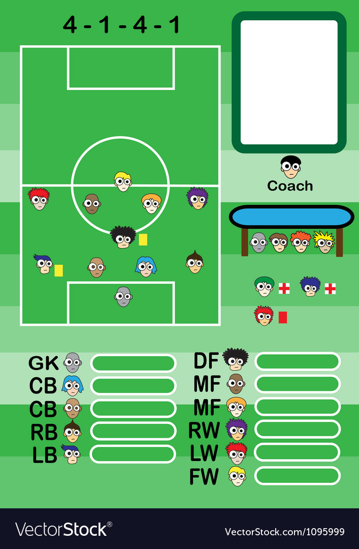 Soccer cartoon strategy formation vector | Price: 1 Credit (USD $1)