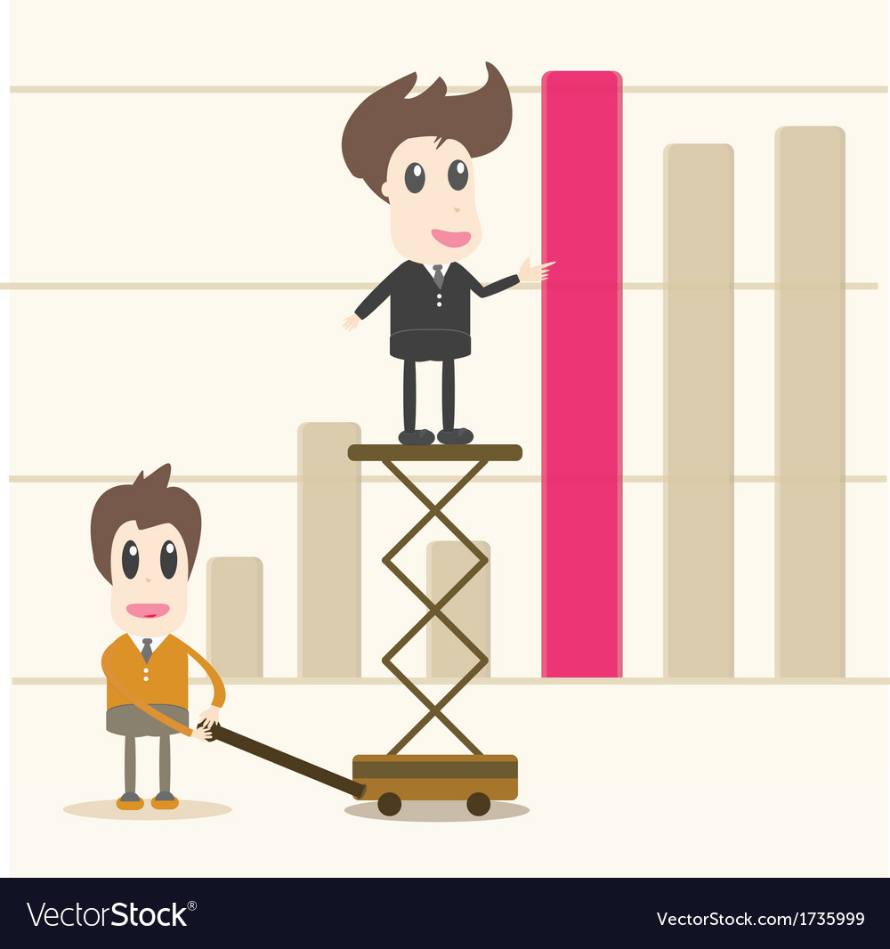 Successful business team in front of graph vector | Price: 1 Credit (USD $1)