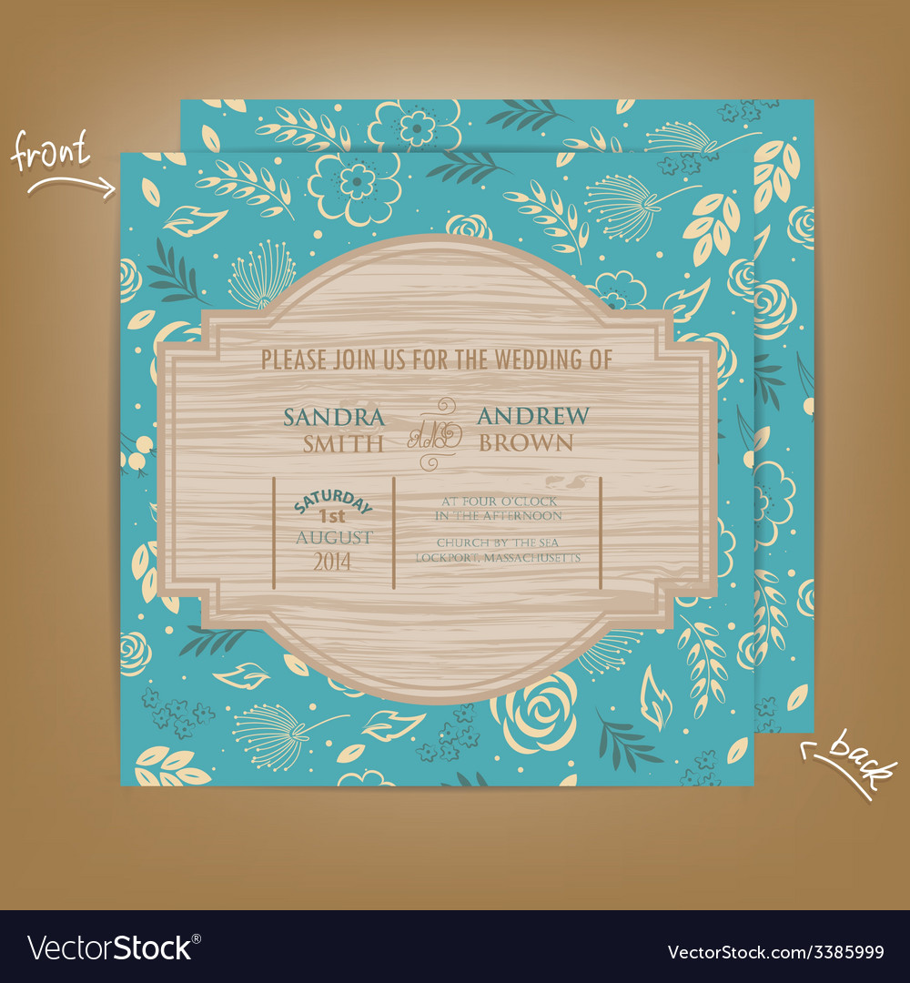 Wedding invitation wooden blue vector | Price: 1 Credit (USD $1)