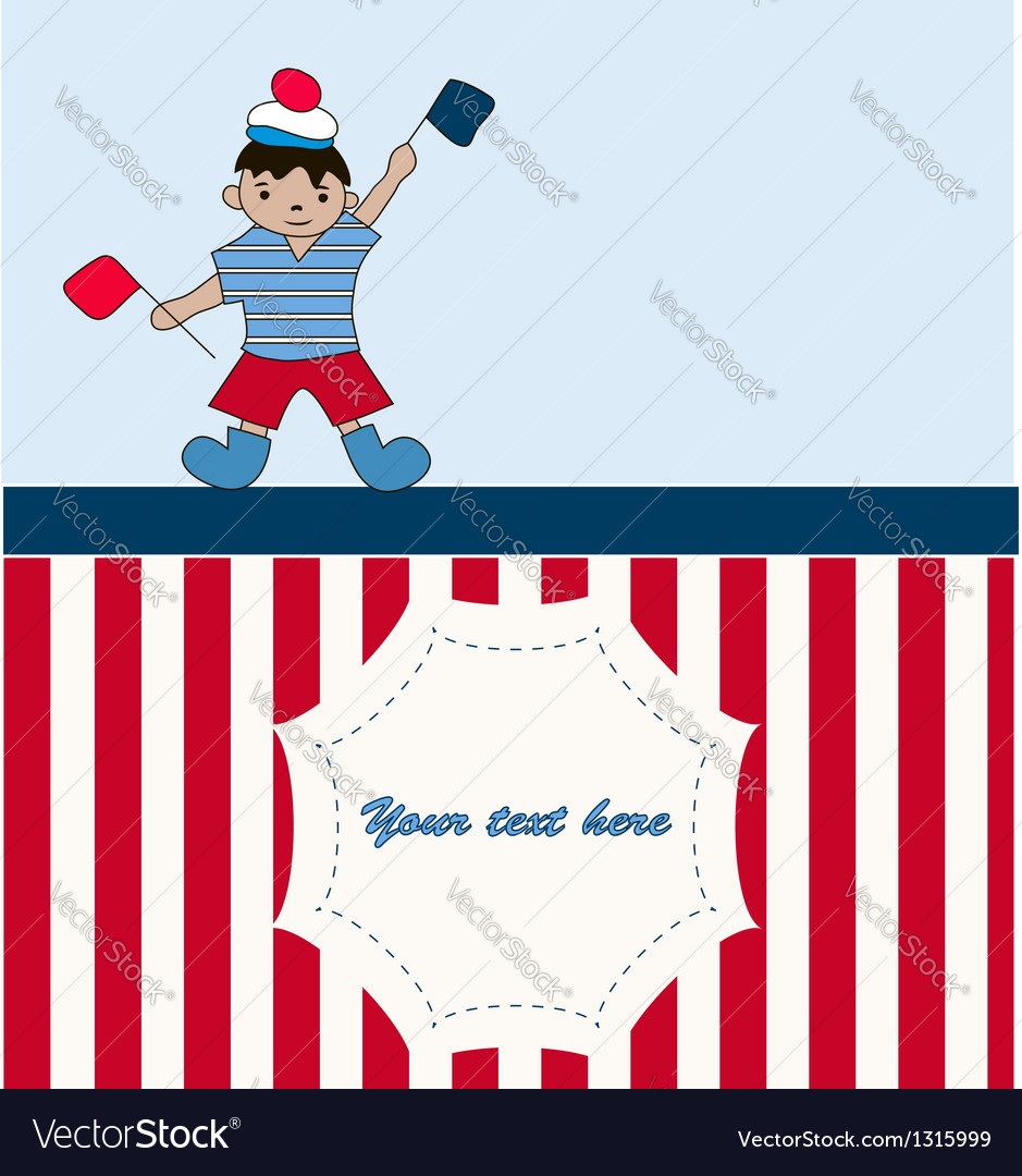 Young sailor with flags vector | Price: 1 Credit (USD $1)