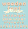 Vintage wooden alphabet flat style vector